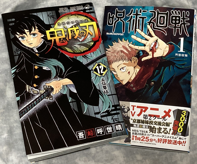 he volume 12 of Demon Slayer and the volume 1 Sorcery Fight